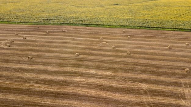 Aerial view ,wheat field with straw bales after harvest. sunflower crop. small country side town landscape