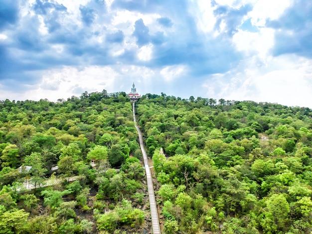 Aerial view white buddha at wat phra bat phu pan kham temple in khon kaen province.