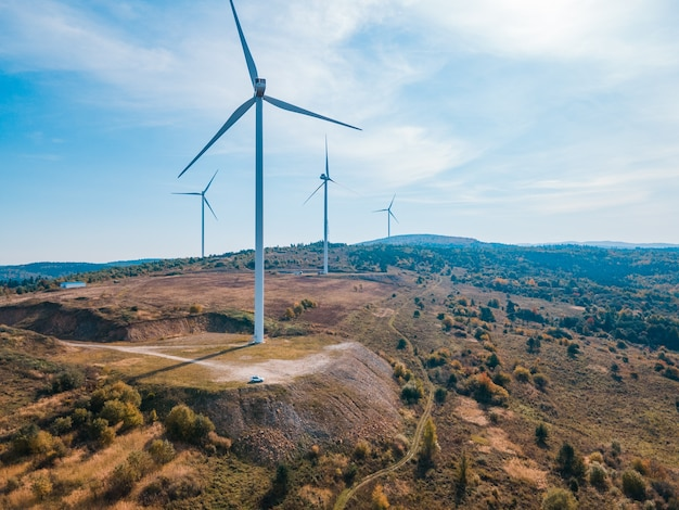 Aerial view of wind turbine electricity plant green energy