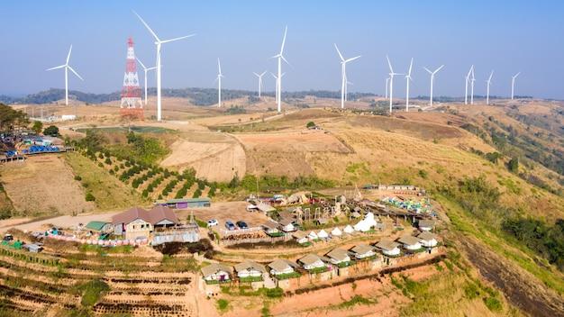 Aerial view windmill farm electric and camping resort khao kho phetchabun
