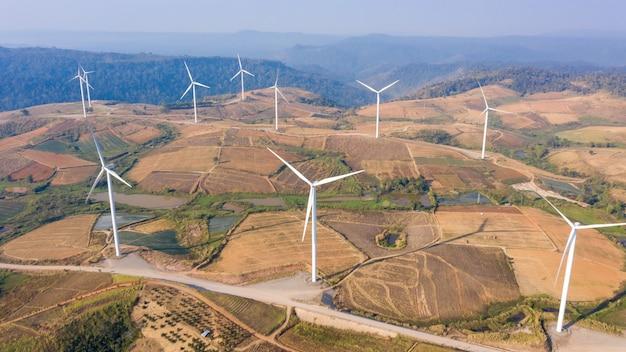 Aerial view windmill farm electric khao kho phetchabun