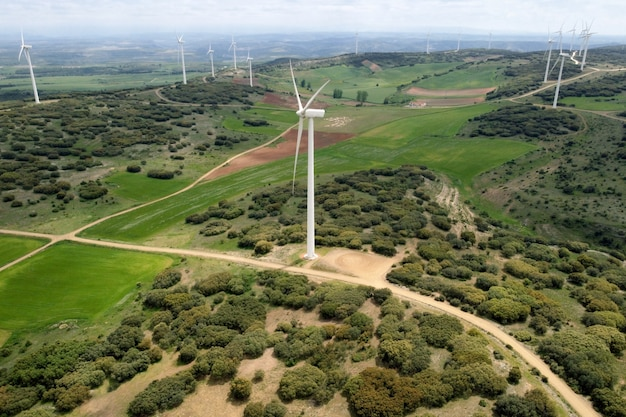 Aerial view of windmills farm for clean energy production