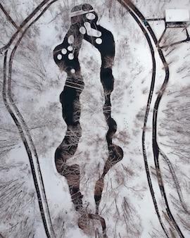Aerial view of a winter park. kharkov, ukraine.