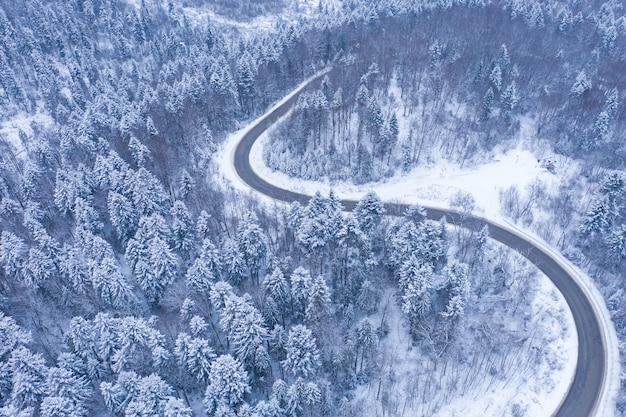 Aerial view of winter road and forest with snow covered trees, top view