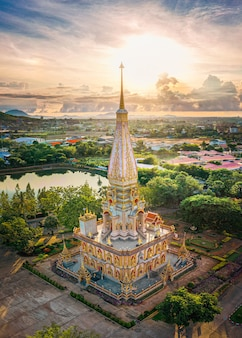 Aerial view with drone of wat chalong or chalong temple in pagoda at phuket