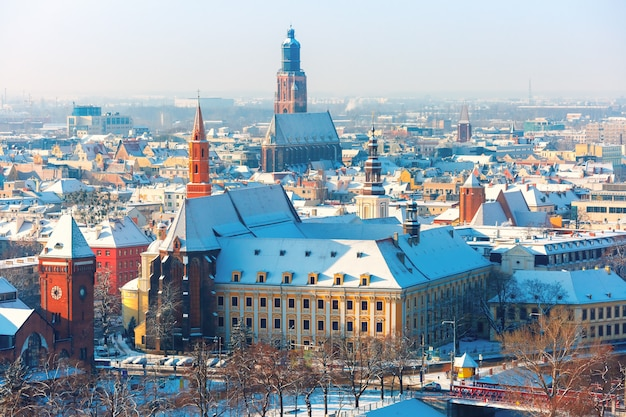 Aerial view of wroclaw in the winter morning