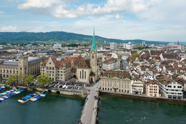 Aerial view of zurich old town along limmat river, zurich, switzerland.