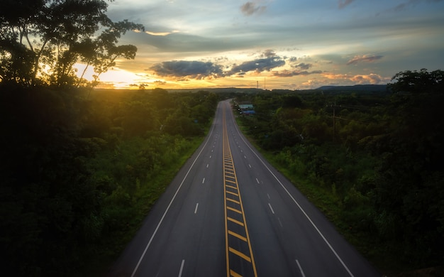 Aerial viewlandscape scene and sunrise above road