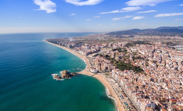 Aerial views of the entire beach in blanes