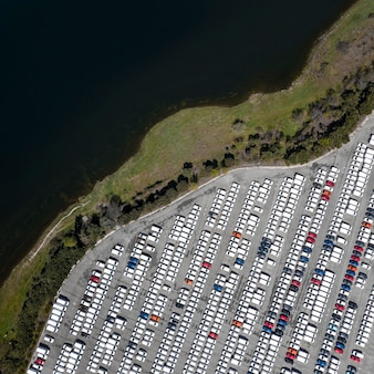 Aerial views with parked cars