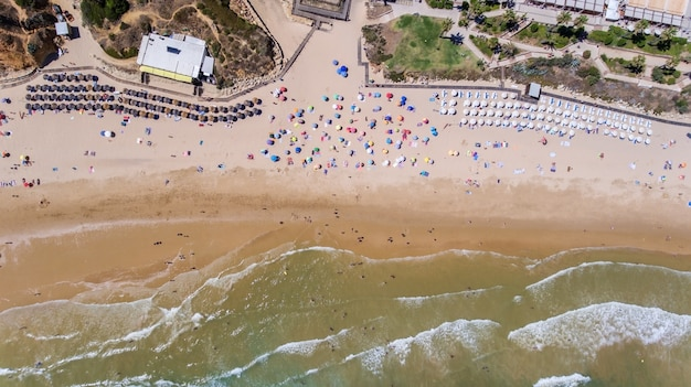 Aerial. village from the sky beach at olhos de agua