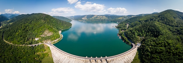 Aerial wide panoramic shot of bicaz lake