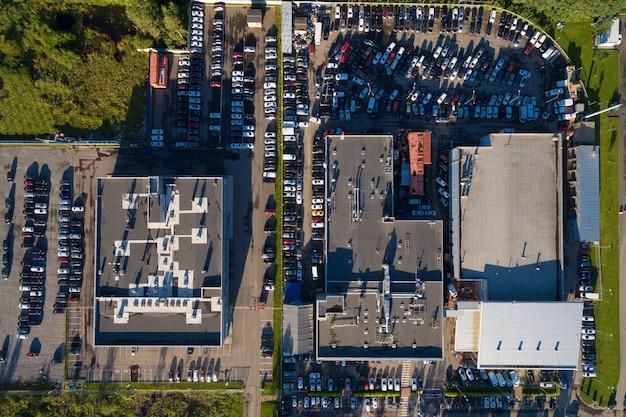 Aerial wiew of car dealer center