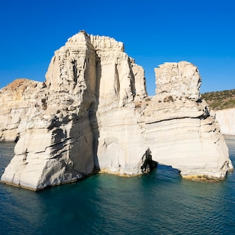 Aerian view of famous rock at kleftico beach, milos, greece