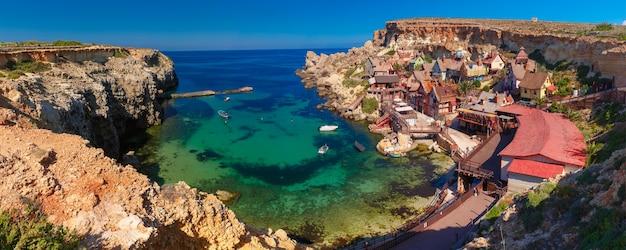 Aeril panorama of popeye village in the sunny day, malta