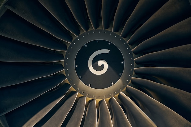 Aeroengine with titanium fan blades and a white swirl painted onto its spinner