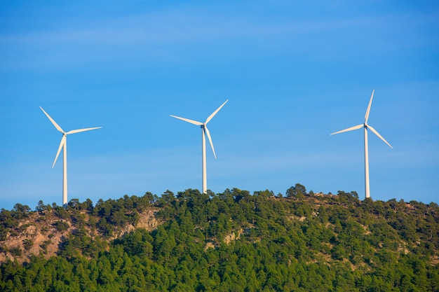 Aerogenerator windmills in the mountain top