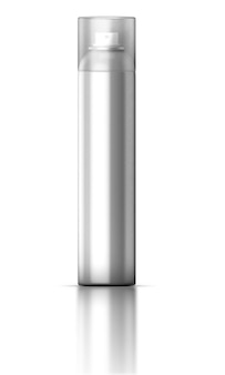 Металлическая бутылка аэрозольного спрея, изолированная на белом