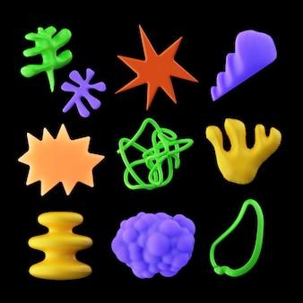 Aesthetic 3d shapes set plastic speech bubble stars cloud flowers corals abstract elements