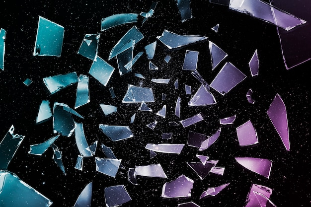 Sfondo estetico del tono colorato di frammenti di specchio