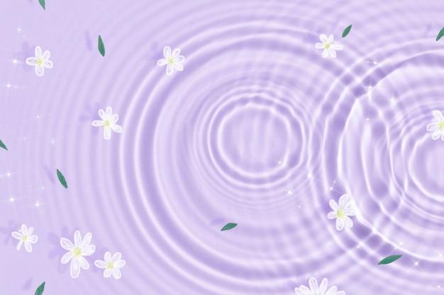 Sfondo estetico, trama increspata dell'acqua, carta da parati con fiori bianchi