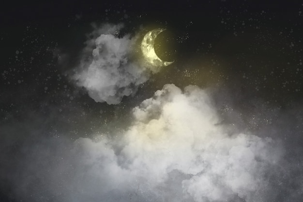 Aesthetic black background with crescent moon