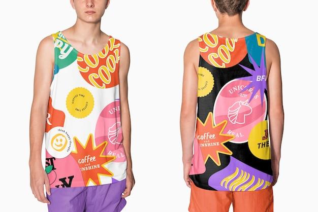 Canottiere estetiche e colorate stampate per riprese in studio di abbigliamento per adolescenti