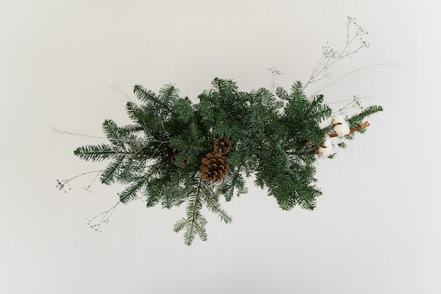 Aesthetic design for christmas with pine nobilis hanging garland, isolated on white.