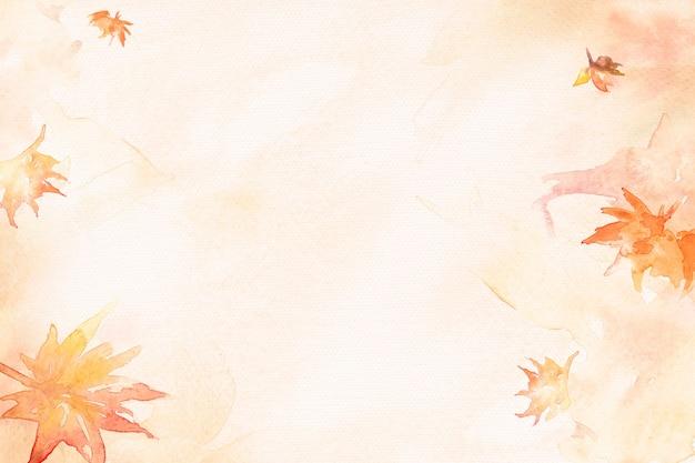Aesthetic leaf watercolor background in orange autumn season