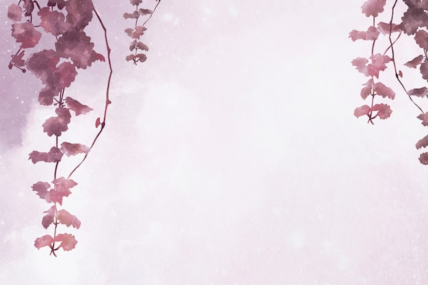 Aesthetic leaves on pink background
