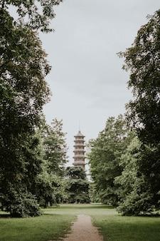 Aesthetic tower retro film grain, in kew garden, london