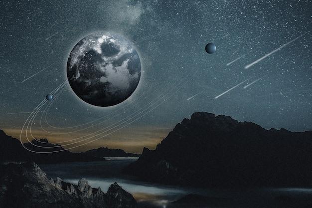 美的宇宙自然背景地球と山のリミックスメディア