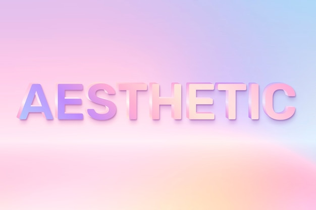 Aesthetic word in holographic text style