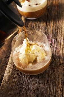 Affogato coffee with ice cream on a cup