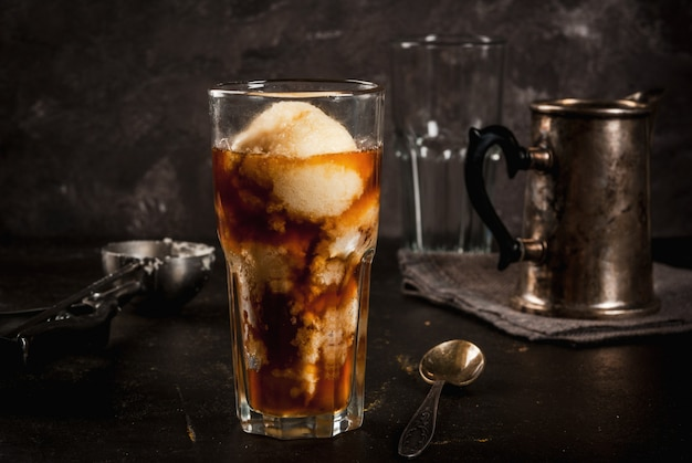 Affogato coffee with ice cream