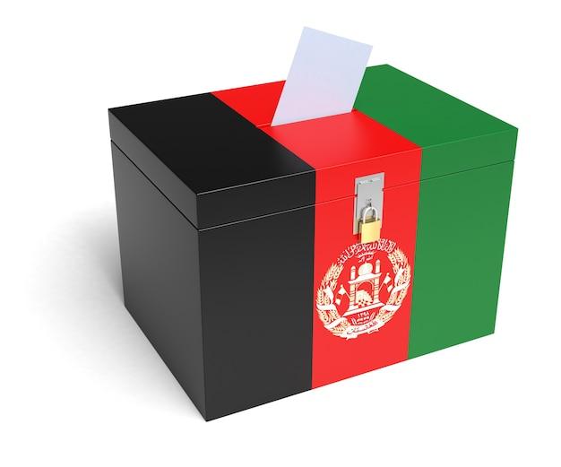 아프가니스탄 국기 투표함. 격리 된 흰색 배경입니다. 3d 렌더링.