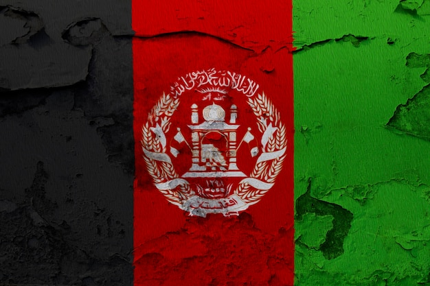 Afghanistan flag painted on grunge cracked wall