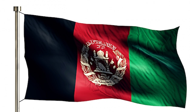 Afghanistan national flag isolated 3d white background