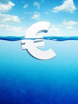 Символ евро на плаву, 3d визуализация