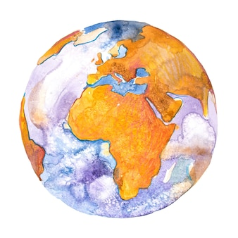 Africa on the globe. earth planet. watercolor.