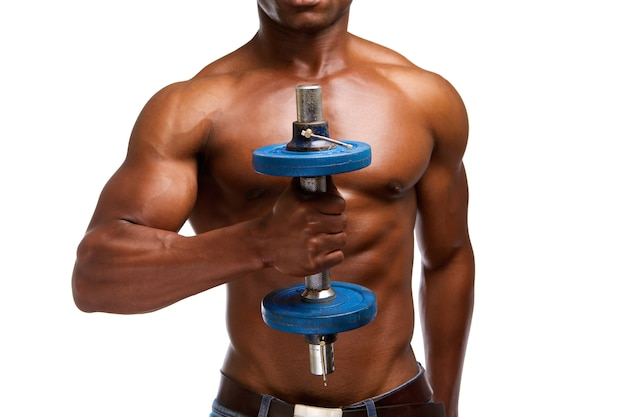 African american athlete lifting gym weight