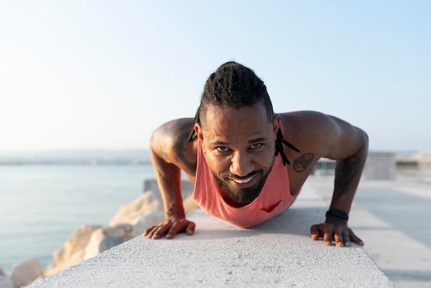 African american athlete in sportswear outdoors