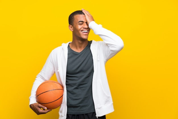 African american basketball player man has realized something and intending the solution