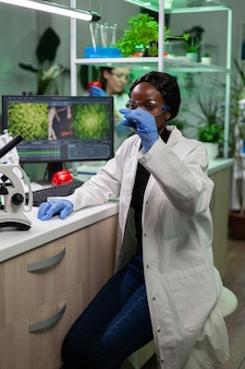 African american biologist researcher holding green leaf sample analyzing gmo plant