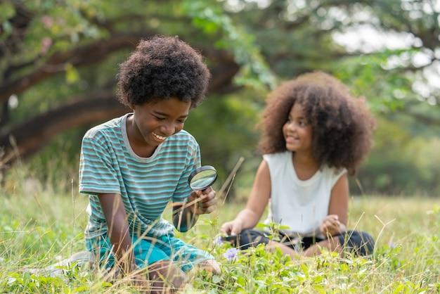 虫眼鏡で自然を探索し、見て草の中に座っているアフリカ系アメリカ人の男の子と女の子