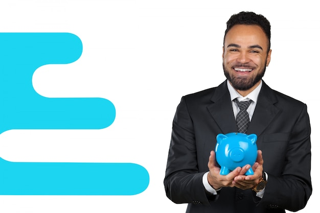 African american business man holding a piggy bank