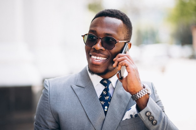 African american business model with phone