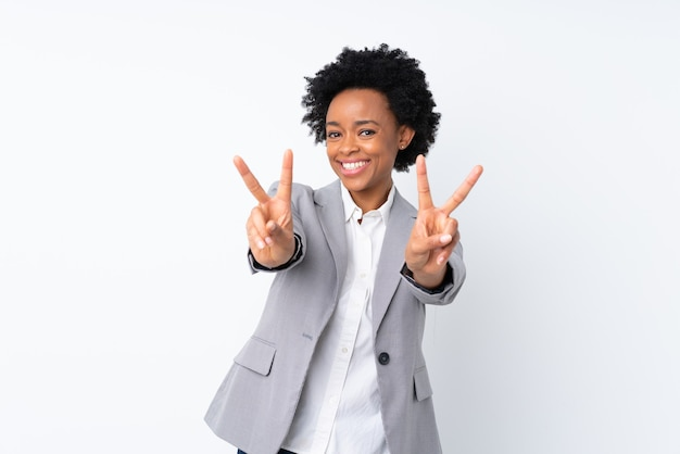 African american business woman isolated smiling and showing victory sign