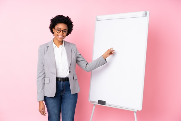 African american business woman with white board