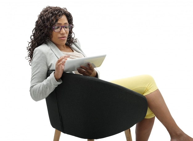 African american businesswoman working with tablet